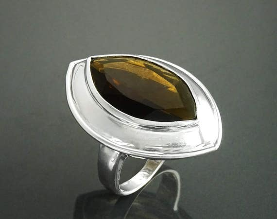 Unique Ring, Women Ring, Sterling Silver 925, Smoky Color Lab Quartz simulant (CZ) Ring - Modern Marquise Ring - Designer Ring