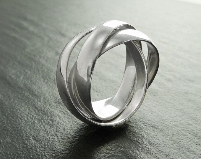 Wide Silver Rolling Ring, Sterling Silver, 3 Separated Interlocking Rings, Trinity Wedding Ring, Triple Rolling Band, Three Large Bands
