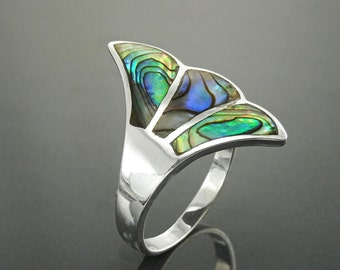 Paua Shell Fan Ring, Sterling Silver, Wave Stone Ring, Flat Abalone Jewelry, Unique Wing Feather Ring, Blue Green Rainbow Color, Art Nouveau