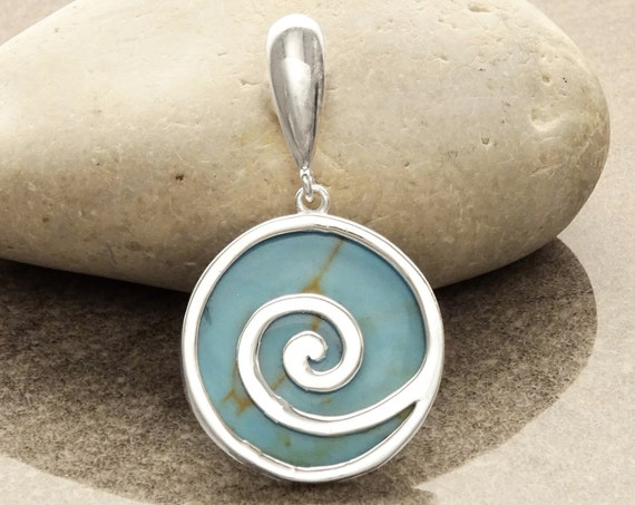 Turquoise Pendant - Sterling Silver - 925 -  Blue Pendant - Geometric Pendant - Stone Pendant - Turquoise Jewelry - Swirl - Spiral.