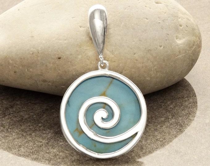 Turquoise Pendant, Sterling Silver, Blue Stone Pendant, Modern Geometric Round Spiral Pendant, Turquoise Gemstone Jewelry, Swirl Design