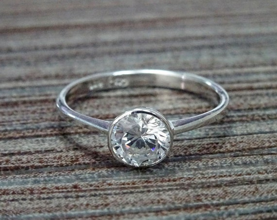 1ct Solitaire Ring, Solid Sterling Silver, Bezel Set Ring, Thin Birthstone Jewelry, Lab Diamonds simulant (CZ), Birthday gift, Promise Ring,