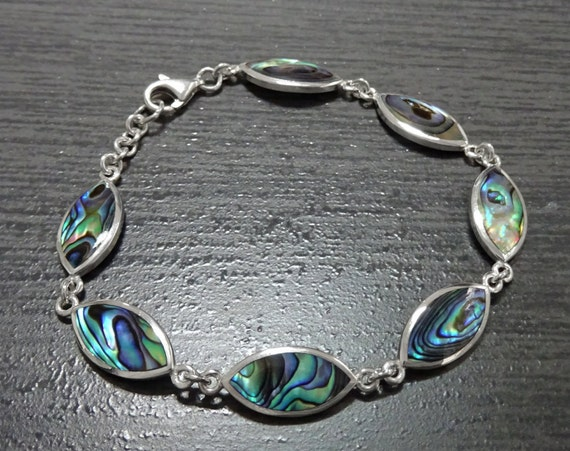 Paua Shell Oval Bracelet, Sterling Silver, Original Unique Women Bracelet, Blue Green with Rainbow Highlights, Abalone Shell, Elegant Gift