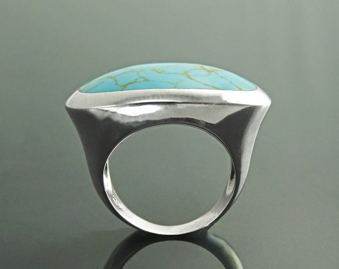 Blue Turquoise Oval Ring, Sterling Silver, Turquoise Horizontal Stone, Wide Low Domed Ring, Unique Design, Modern Minimlalist Style Ring