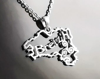 French Brittany Necklace, Sterling Silver, French Britain regional Jewelry Souvenir, Breizh Bretagne Map, Breton Pendant, Triskell Symbol