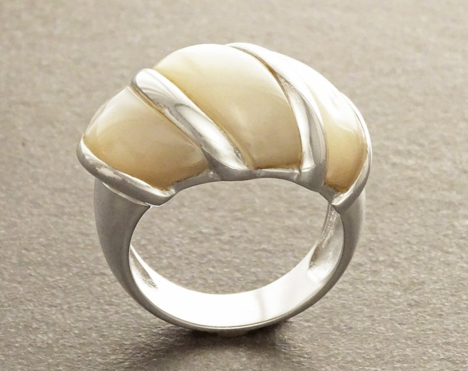 White Domed Ring,  Sterling Silver, Mother-of-Pearl Shell Ring, Statement jewelry, Wide stone large band ring, Pearl Ring