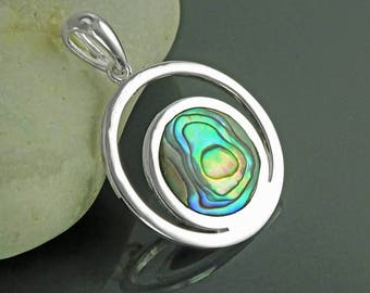 Moon Planet Earth Symbol Pendant, Sterling Silver, Paua Shell Abalone, Modern Minimalist Jewelry, Crescent Moon Cut Out, Round Flat Stone
