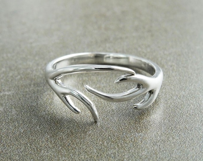Deer Antler Ring, Sterling Silver Ring, Opened Ring, Dainty Ring, Adjustable Ring, Band ring, Boho ring, Forest Jewelry, Nature Gift