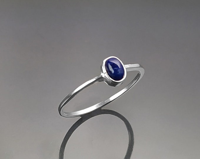 Tiny Lapis Ring, Sterling Silver, Modern Minimalist Ring, Small Blue Oval Stone, Genuine Lapis Gemstone, Small Everyday Ring, Dainty Ring