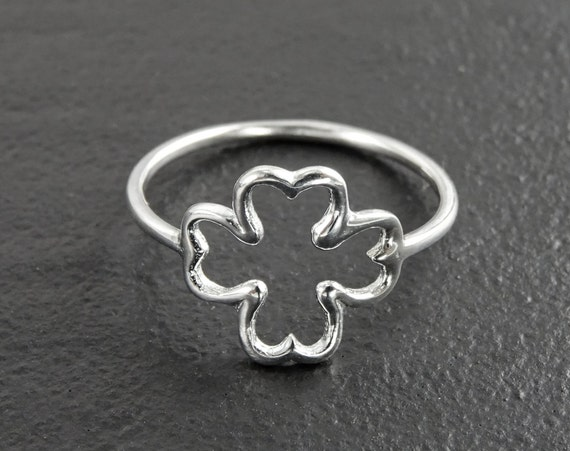 Open Clover Ring, Sterling Silver, Shamrock, Lucky Four Leaf, Trefoil Clover Leaf Jewelry, Dainty Charm Ring, Saint Patrick's Day Girl Gifts