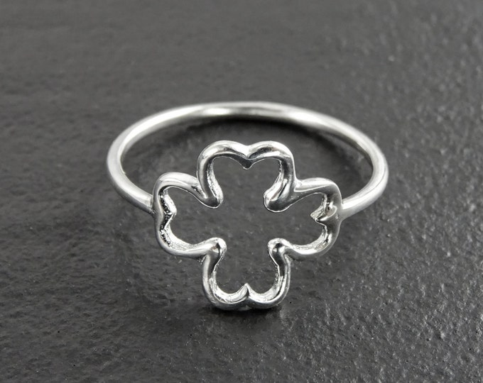 Clover Ring, Sterling Silver, Open Shamrock, Lucky Four Leaf, Trefoil Clover Leaf Ring brings good luck, Irish Saint Patrick's Day Gifts