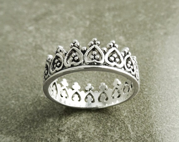 Crown Ring , Sterling Silver 925, Diadem Band Ring, Princess Queen Jewelry, Promise Ring, Engagement band, Tiara Ring, Valentine's Day Gifts