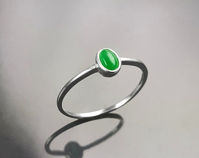 Tiny Jade Ring, Sterling Silver, Modern Minimalist Ring, Small Green Oval Stone, Genuine Jade Gemstone, Small Everyday Ring, Dainty Ring
