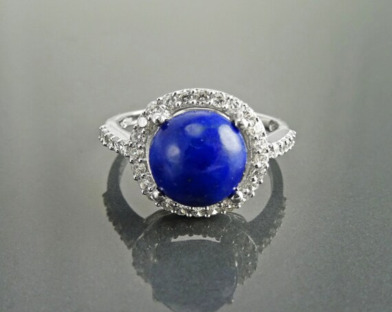 GENUINE Lapis Ring, Sterling Silver, NATURAL Bleue Lapis Lazuli Round Stone, Lapis Gemstone Jewelry, Lab Diamonds Simulants (CZ) Stones