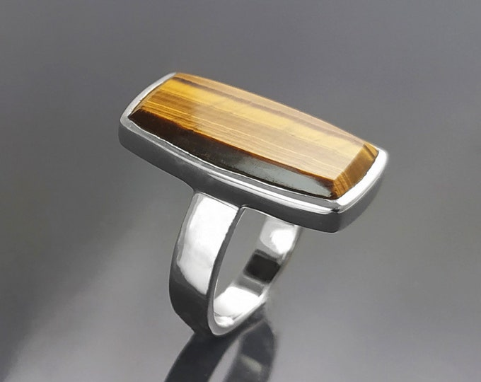 Brown Rectangle ring, sterling silver, brown color Tiger eye stone, Modern everyday urban minimalist geometric designed stone jewelry