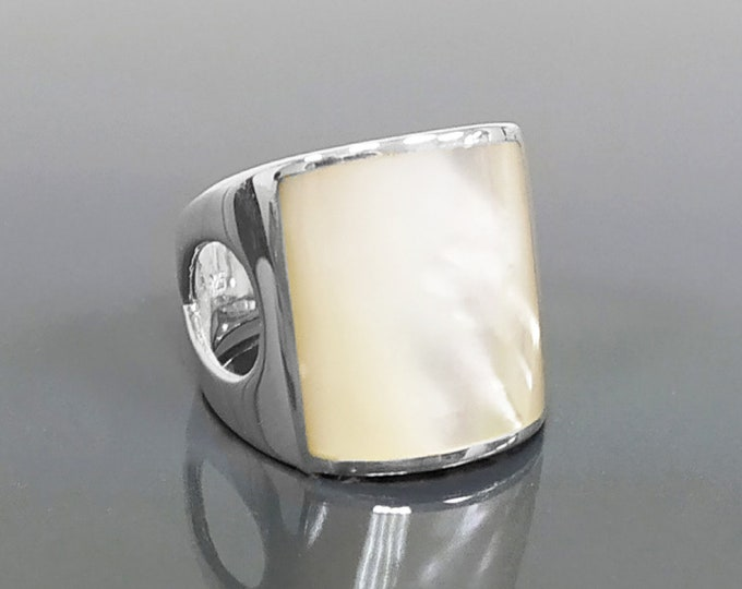 White square ring, sterling silver, cuff ring, large armor ring, modern minimalist wide stone design jewelry, white mother-of-pearl shell