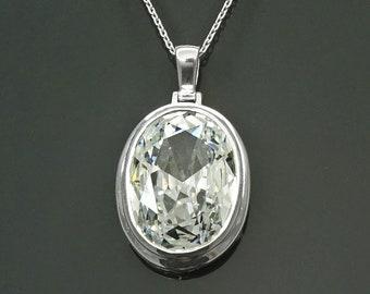 Oval Pendant, Sterling Silver, White Diamond Color Cubic Zirconia Cz , Modern Oval Pendant Necklace, Bold jewelry