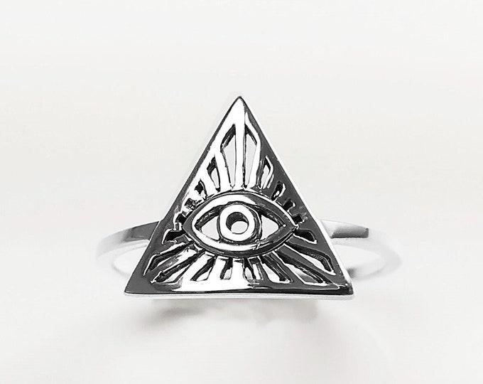 Eye of Providence Ring, 925 Silver, Omniscient Eye Jewelry, Eye of God, Delta Eye, Divine Trinity Ring, Esoteric Luminous Triangle Eye Ring
