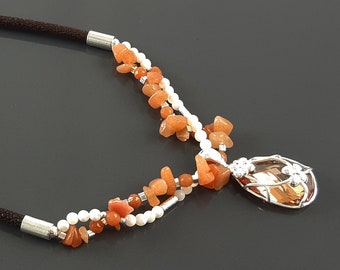 Orange Stone Necklace, Sterling Silver, NATURAL Agate Stones, Pearls Strands, Lab Orange Cz, Flower Pendant, Stingray Collar