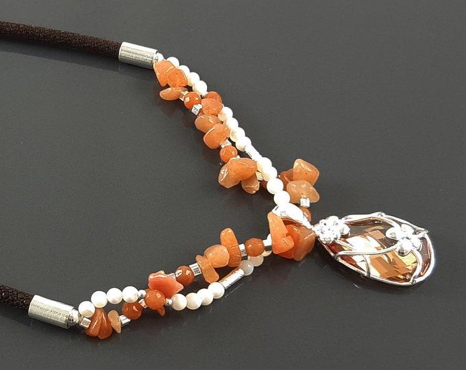 Orange Stone Necklace, Sterling Silver, NATURAL Agate Stones, Pearls Strands, Lab Orange Cz, Flower Pendant, Stingray Collar