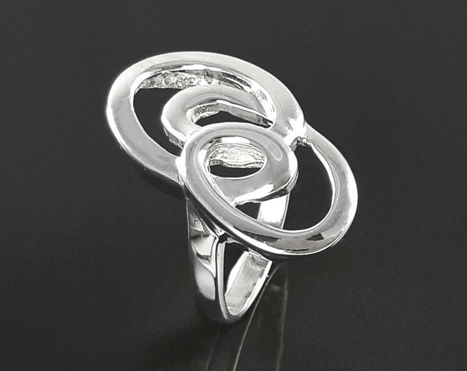 spiral  ring, sterling silver, hand forged Infinity ring, modern minimalist ring, geometric round graphic curl jewelry, flat loops ring