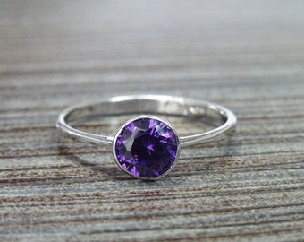 Purple Stone Ring, Sterling Silver, Comfortable Low Round Setting Ring, Amethyst simulant Stone (CZ), Minimalist Purple Solitaire Ring
