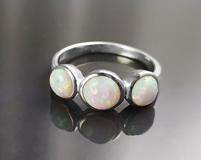 Opal Ring, Sterling Silver, Three Opal Stones Ring, Fiery White Fire Opals Stone Birthstone Jewelry, Modern Minimalist Domed Round Ring