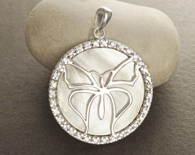 Butterfly Pendant, Sterling Silver, White Mother of Pearl Shell, Butterflies Jewelry, Statement Animal Vintage Stone Necklace, CZ Stones