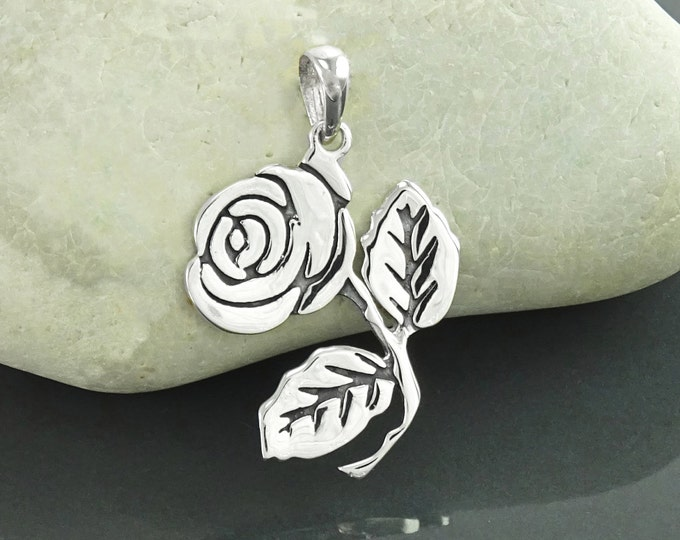 Rose Flower necklace, Sterling Silver, Beauty and the Beast Jewelry, Promise Necklace, Classic Flat Rosebud Pendant, Floral Gift
