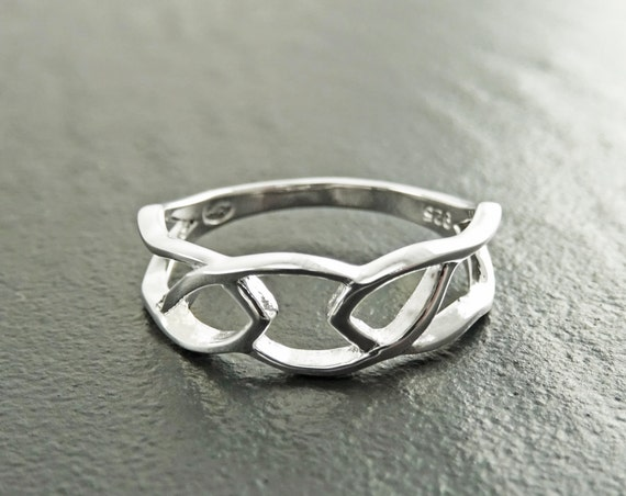 Celtic Forged Ring, Silver 925, Celtic Journey Ring, Woman Band Ring, Large Braided Lace Band, Filigree Ring, Promise Bridal Ring, Modern