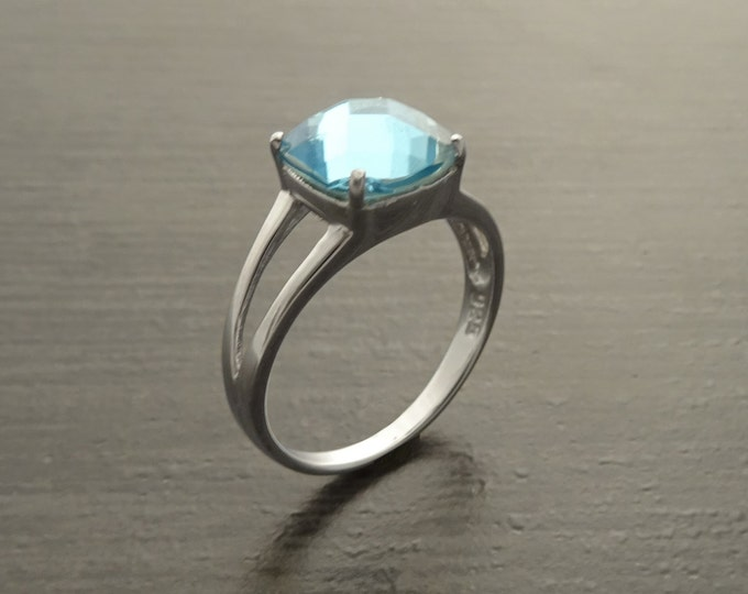 Blue Square Ring, Sterling Silver, Lab Blue Aquamarine simulant Stone (CZ) Ring, Modern Square Stones Ring, Engagement Solitaire Jewelry