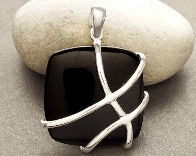 Onyx square pendant, sterling silver, black onyx gemstone, statement bold modern stones necklace, geometric square shape stone jewelry