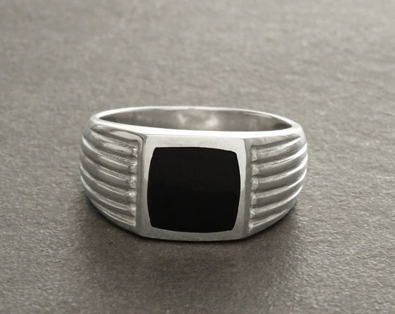 Onyx Signet Ring, Sterling Silver, Edged Cushion Signet Ring, Art Deco Style, Mens Ring Jewelry, Man Black Stone Square Rings, Mens Gift