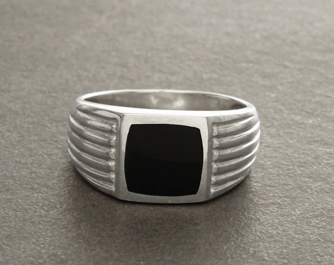 Man Signet Ring, Men Sterling Silver Jewelry, Black Onyx Cushion Stone, Father's Day gift, Valentine's Day idea