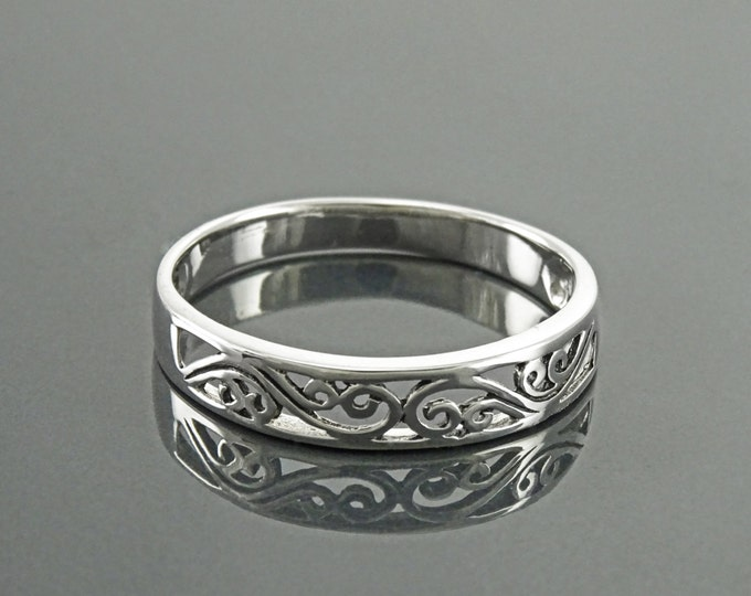 Filigree Band Ring, Sterling Silver, Art Nouveau Ring, Openwork Lace, Promise Ring, Bridesmaid Gift, Stackable Ring, Midi Ring, Boho Jewelry