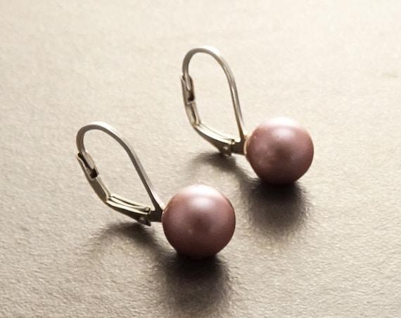 8 mm GENUINE Purple Shell Pearl Earrings, Sterling Silver, Lever Back Earrings, Minimalist, Pearl Jewelry, Prom, Wedding, Bridesmaids Gifts