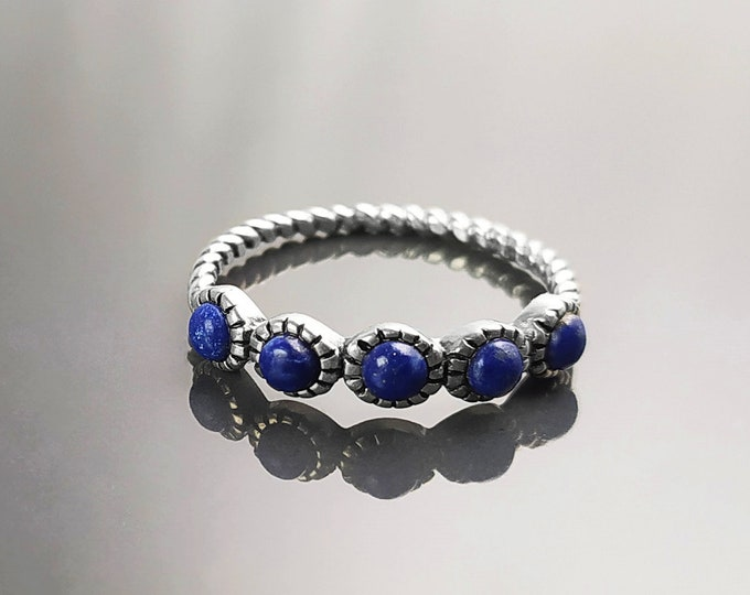 Lapis Ring, Sterling Silver, Genuine Lapis Blue Stone Ring, Braided Stones Band, Rope Antique Jewelry, Stackable Ring