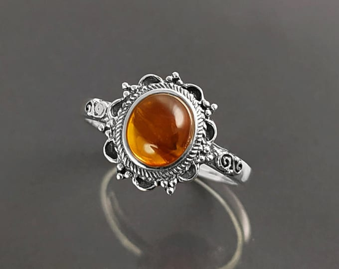 Amber Ring, Sterling Silver, Genuine Cognac color Amber Ring, Dainty Stone Ring, Midi Oval Ring, Pretty Boho Jewelry, Victorian Antique Ring
