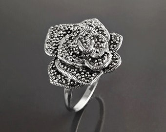 Vintage Rose Ring, Sterling Silver, Marcasite  Jewelry, Romantic Rose Flower Blossom, Antique Design Style ring