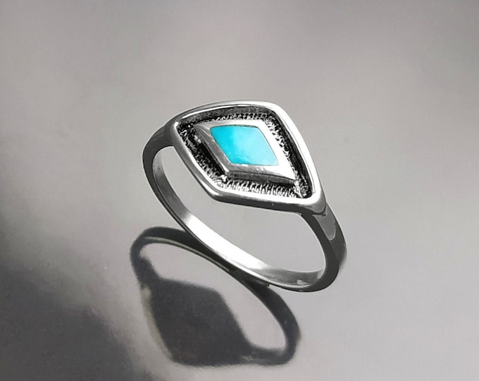 Blue Eye Ring, Sterling Silver, Oval Blue Turquoise Stone, Spiritual Protection jewelry, Third Eye Against Evil Ring, Positive Energy