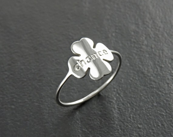 Dainty Clover Ring, Sterling Silver, Four Leaf Clover Charm, Irish Shamrock, Quatrefoil Good Luck Chance Jewelry, Saint Patrick's day Gift