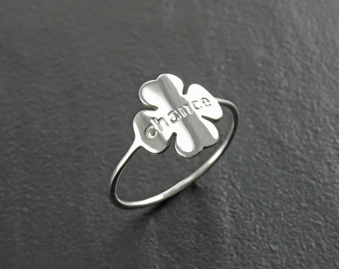 Lucky Clover Ring, Sterling Silver, Four Leaf Clover Charm, Irish Shamrock, Quatrefoil Good Luck Chance Jewelry, Saint Patrick's day Gift