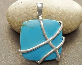 Turquoise Square Pendant, Sterling Silver, Blue Turquoise Gemstone, Statement Bold Modern Necklace, Geometric Square Shape Stone Jewelry
