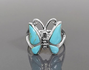 Butterfly Turquoise Ring, Sterling Silver, Butterflies Jewelry, Blue Turquoise Stone Ring, Nature inspired Gift for Girls and Women