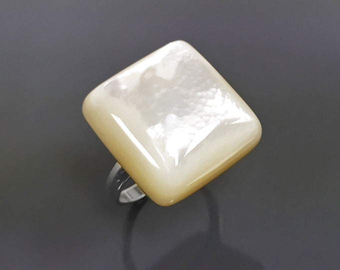 White Square Ring, Sterling Silver, Mother of Pearl Shell, Designer Geometrical Foursquare Stone Jewelry, Statement Simple, Unique Ring