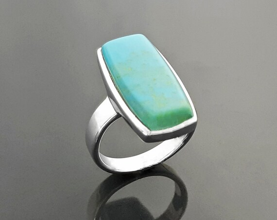 Blue Turquoise Ring, Sterling Silver set with a Rectangle Turquoise Stone in a Unique Modern Design