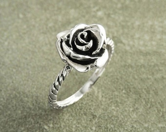 Rose Blossom Ring, Sterling Silver, Romantic Rose Flower, Engagement Ring, Handmade Rosebud Ring, Promise Jewelry, Valentine's Day Gifts