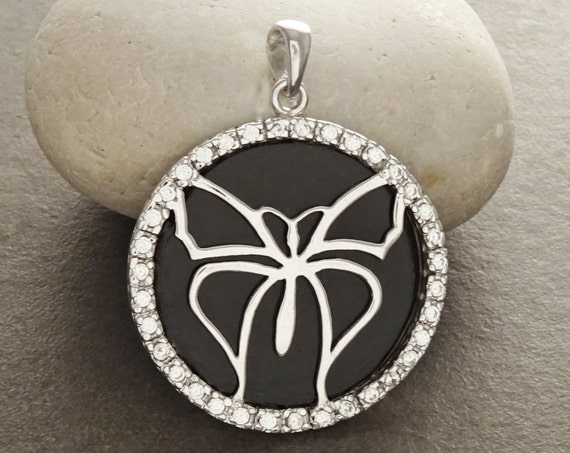 Black, Butterfly, Pendant, Sterling, Silver, 925, Black Onyx, Butterfly, Genuine Onyx - Statement Pendant - Micro Pave CZ Stone . Animal