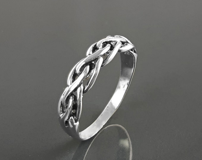 Viking Ring, Sterling Silver Unisex Ring, Original Norse Promise Ring, Alternative Wedding Jewelry, Braided Tribal Band, Celtic Crossed Ring