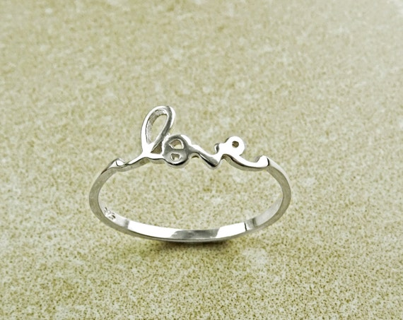 Love Ring, Sterling Ring, Dainty Engraved Writing Script Love Ring, Lovers Jewelry, Promise Ring, Thin Stackable Ring, Valentine's Day Gifts